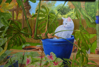 Picture of white cat in a flowerpot