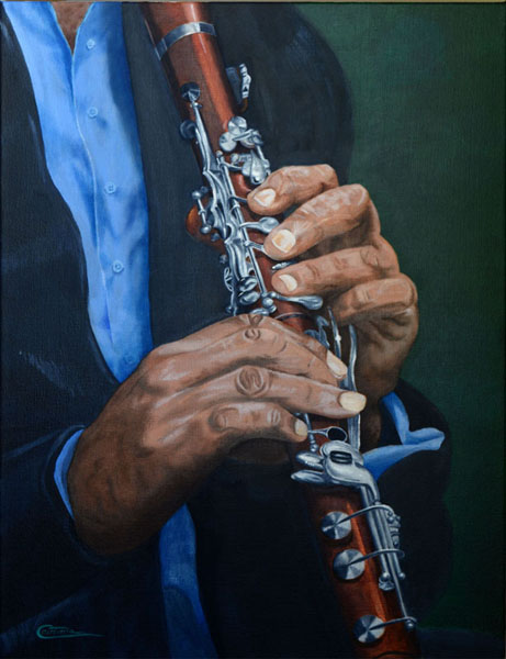 A painting of hands playing a clarinet