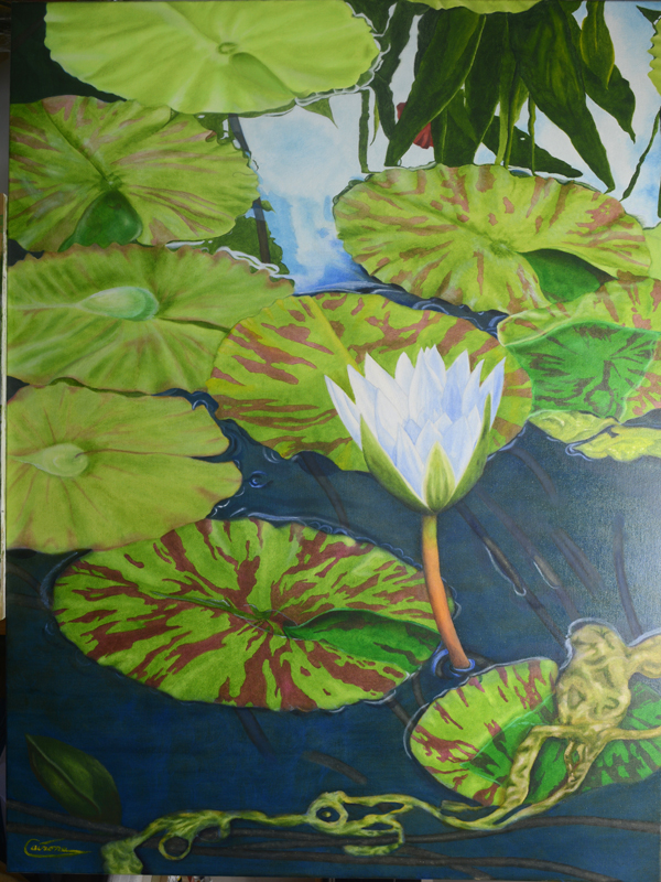 Painting of a water lily