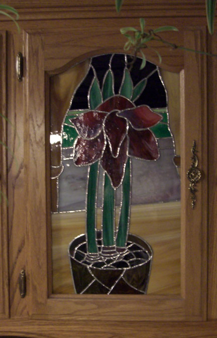 Red Amaryllis in Stained Glass