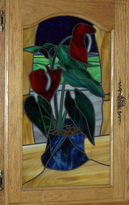Red Anthurium in Stained Glass