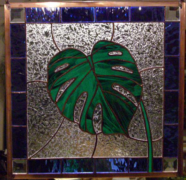 Monstera leaf in Stained Glass