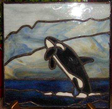 Leaping Orca in Stained Glass