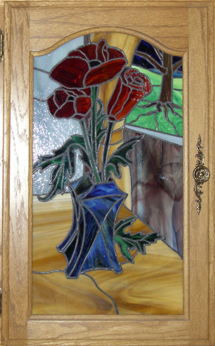 Red Poppy in Stained Glass