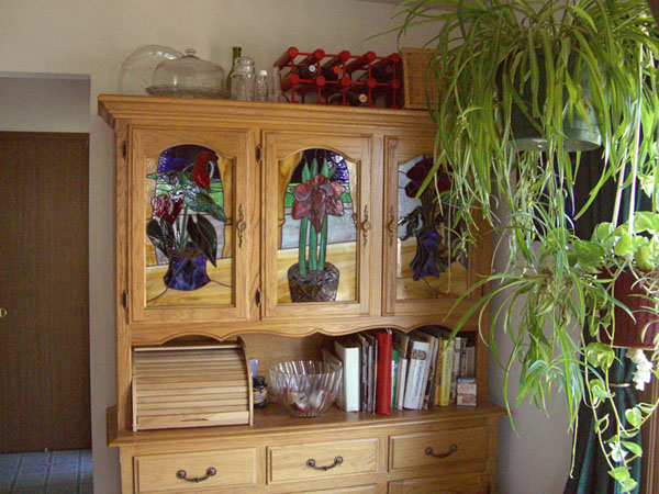 Hutch with 3 Stained Glass panels